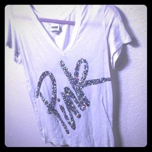 Medium white pink Victoria secret top